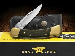 Buck 110 Folding Hunter Knife Ebony Wood Handle 420HC Pocket
