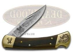 Buck 110 Wooden Whitetail Buck Scrolled Bolster Stainless Fo