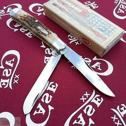 Case Amber Bone CV Trapper Pocket Knife