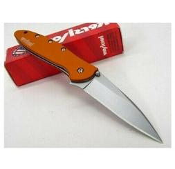"Kershaw Leek, Orange Pocket Knife , 3"" Bead-Blasted High-P"