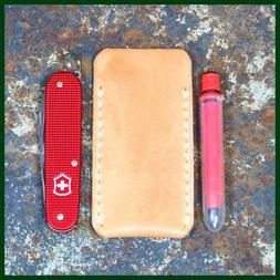 VEG TANNED LEATHER SHEATH EDC POUCH FOR SLIP JOINT FOLDING P