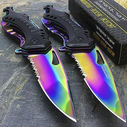 """2 x 8"""" TAC FORCE RAINBOW SPRING ASSISTED TACTICAL FOLDING KN"""
