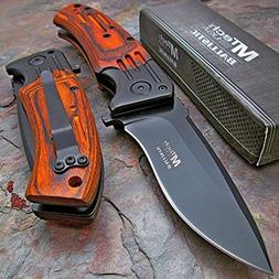 2015 Tactical Folding Knife,blade. Wood Handle, Clips. New i