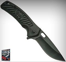 300398BK Black Plastic Handle Folding Limited Elite Knife w/