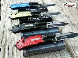 4 Pc Wartech Spring Assisted Pocket Knife Set LED Light Glas