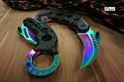 6 s a open rainbow karambit folding