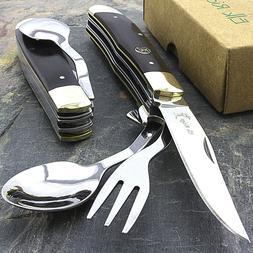 """7.25"""" ELK RIDGE WOOD HOBO FOLDING KNIFE w/ FORK & SPOON Uten"""