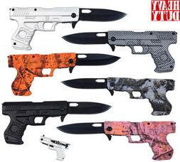 "7.5"" Overall  Spring Tactical Folding Gun Pocket Knife Stain"