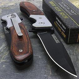 """7"""" TAC FORCE SPRING ASSISTED WOOD FOLDING POCKET KNIFE Blade"""