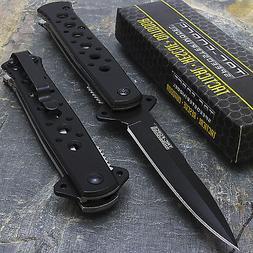"""7"""" TAC FORCE BLACK STILETTO FOLDING TACTICAL POCKET KNIFE Bl"""
