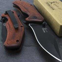 "7"" ELK RIDGE WOOD SPRING ASSISTED FOLDING TACTICAL POCKET KN"