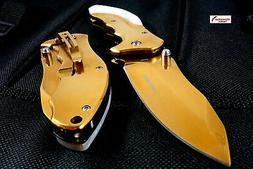 """8.25"""" Gold Pocket Knife Tactical Pearly White Handle Manual"""