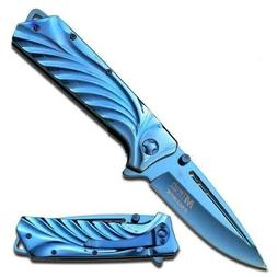 "8.25"" MTECH USA BLUE TITANIUM SPRING OPEN ASSISTED TACTICAL"