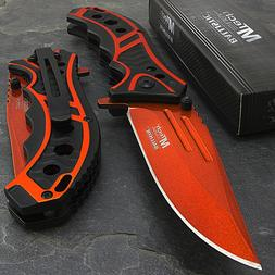 "8.25"" MTECH USA ORANGE SPRING ASSISTED TACTICAL FOLDING POCK"