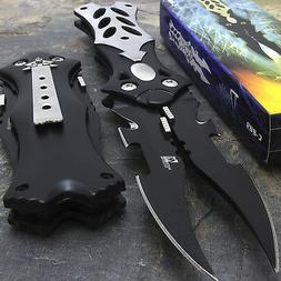 "8.5"" Mtech USA Midnight Black Dual Blade Fantasy Pocket Fold"
