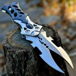 "8.5"" Dual Twin Blade Fantasy Cosplay Folding Pocket Knife Ta"