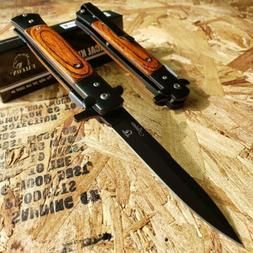 "8.75"" STILETTO FOLDING POCKET KNIFE Wooden SPRING ASSISTED O"