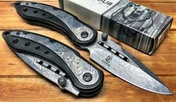 """8"""" ASSISTED-OPENING-DAMASCUS-ETCHED-KNIFE-Tactical-Folding-P"""