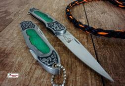 "8"" Folding Knife with Engraved Green Wood Lockback Key Chain"