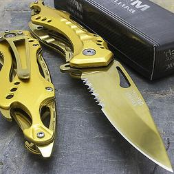 """8"""" MTECH USA GOLD SPRING ASSISTED TACTICAL FOLDING KNIFE Bla"""