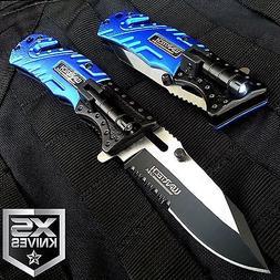 Blue EDC Spring Assisted LED MULTI TOOL Pocket Knife Belt Cu