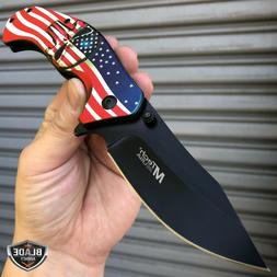 "8"" MTECH USA American Flag Skull SPRING ASSISTED Folding Poc"