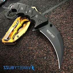 "8"" Spring Folding Pocket Knife Karambit Claw Combat Tactical"