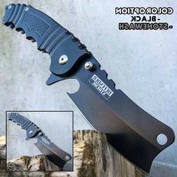 "8"" Tactical Cleaver Folding Pocket Razor Knife Combat Spring"