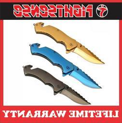 "8"" Titanium Overall Spring Tactical Folding Pocket Knife Sta"