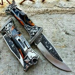"""9"""" Back Lock Tactical Folding Pocket Knife Hunting Blade Eng"""