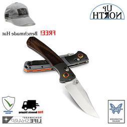 BENCHMADE Mini Crooked River Folding Hunt Knife Wood Handle