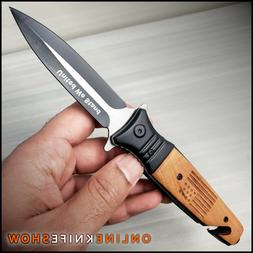 BROWN WOOD EDC POCKET KNIFE Tactical Spring Folding Blade Bl