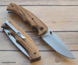 BROWNING ZEBRA-WOOD HANDLE FOLDING KNIFE WITH POCKET CLIP BR