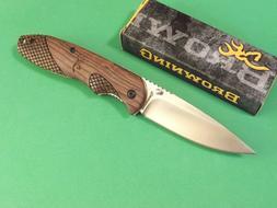 Browning 3220176 Rosewood Satin Drop Point Folding Knife Poc