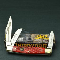 Browning Red Pick Bone Three Blade Stockman Folding Pocket K