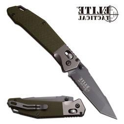 Elite Tactical ET-1027GN Green G10 Gray TiNi Tanto Folding K