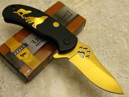 Gold Blade Timber Wolf Art Folding Pocket Knife Aluminum Han