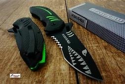 Green Wartech PWT267 Thumb Open Blade Spring Assisted Shark
