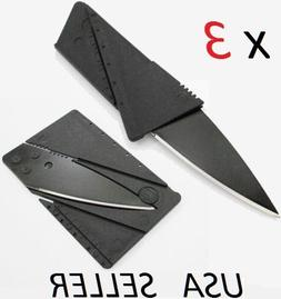 Lot of 3 Credit Card Thin Knives Cardsharp Wallet Folding Po