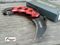 NEW WARTECH Assisted RED KARAMBIT Folding Knife CLAW TACTICA