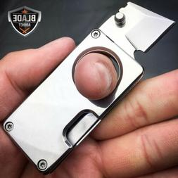 SILVER EDC FOLDING STUB KNIFE MINI SELF DEFENSE POCKET KNIFE