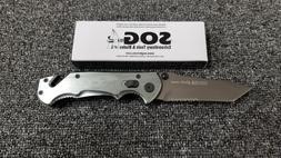 SOG GUN METAL FOLDING POCKET RESCUE KNIFE w TANTO COMBINATIO