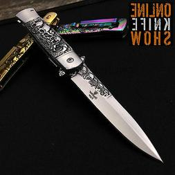 SPRING ASSISTED STILETTO KNIFE Tactical Folding Pocket Open
