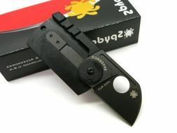 SPYDERCO Carbon Fiber Black DOG TAG FOLDER Plain Edge Foldin