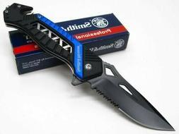 Smith & Wesson S&W SW608BLS Black Blue Serrated Folding Resc