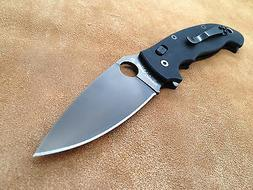 Spyderco Manix 2 XL Black Folding Knife G-10 Plain Edge C95G