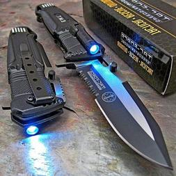 TAC-FORCE Open LED Light EMT EMS Folding Pocket Rescue Knife