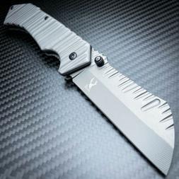 TACTICAL Spring Assisted Open Pocket Knife CLEAVER RAZOR FOL