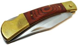 USA Folding Blade Pocket Knife FS Hardwood Handle Lockback W