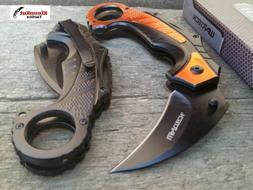 "Wartech 6"" Orange Spring Assisted Tactical Karambit Folding"